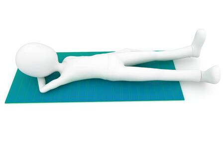 3d man sleeping on a mat isolated on white photo