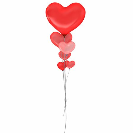 3d balloons heart valentines day isolated on white photo