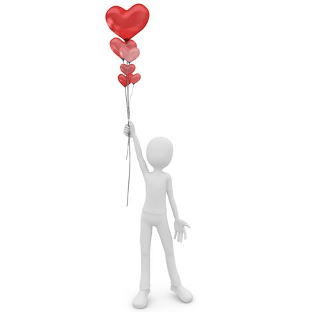 3d man with balloons heart valentines day isolated on white photo
