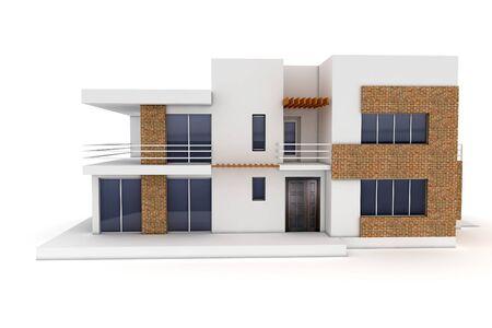 fachadas de casa: Casa 3D aislado en blanco representa gen�rico