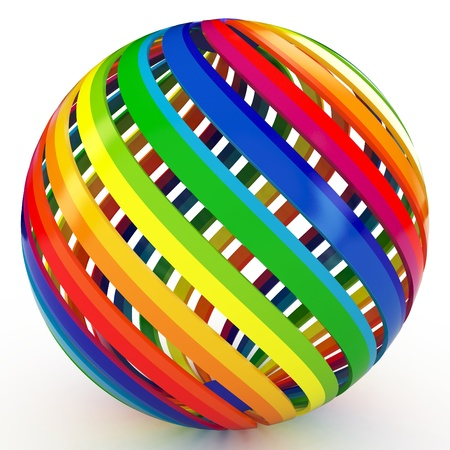 rainbow sphere: 3d sphere with color stripes isolated on white