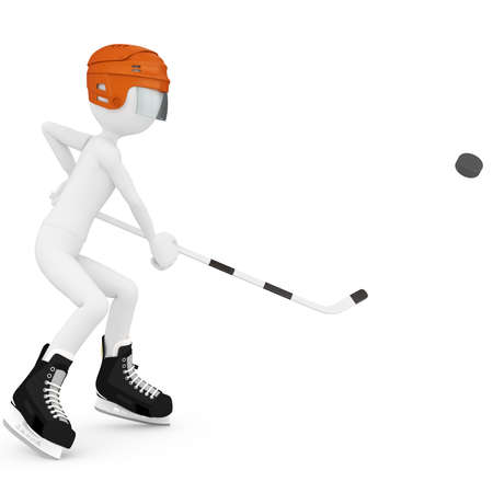 3d man with hockey gear isolated on white photo