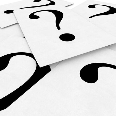 3d paper sheet with question mark isolated on white photo