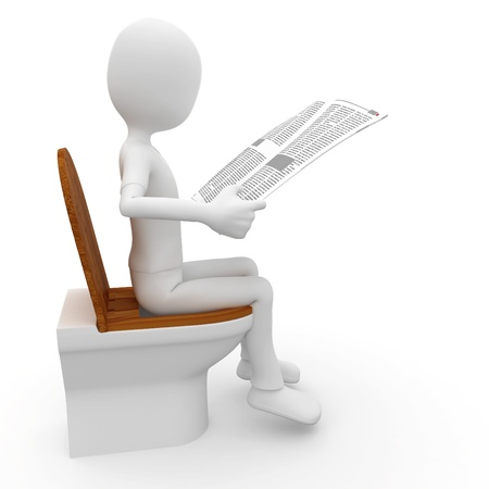 3d man reading on toilet  isolated on white photo