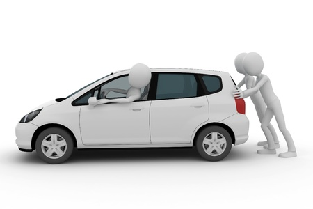 3d man helping pushing a breakdown car isolated on white photo