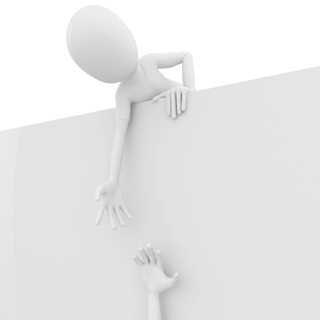 3d man helping reaching for a friend  isolated on white photo