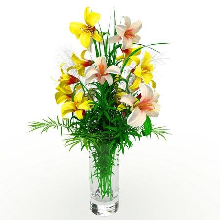 3d flower arrangement on vase isolated on white  photo