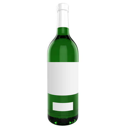 3d bottle with white blank label isolated on white photo