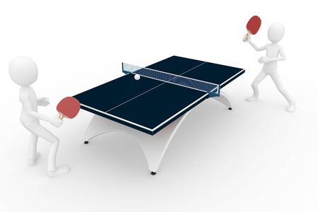 3d man playing table tennis isolated on white photo
