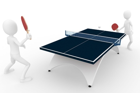 table tennis: 3d man playing table tennis isolated on white