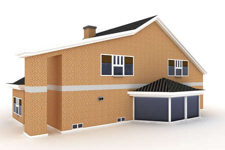 3d house isolated on white rendered generic Stock Photo - 8857883