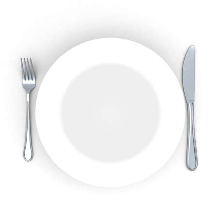 collation: 3d Place setting with plate, knife and fork isolated on white Stock Photo
