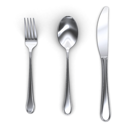 3d fork spoon and knife isolated on white background photo