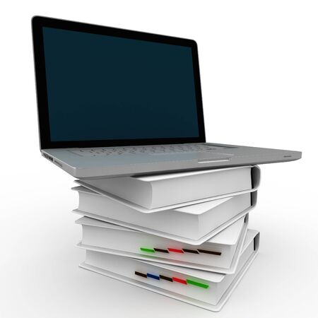 3d laptop sitting on top of books isolated on white photo