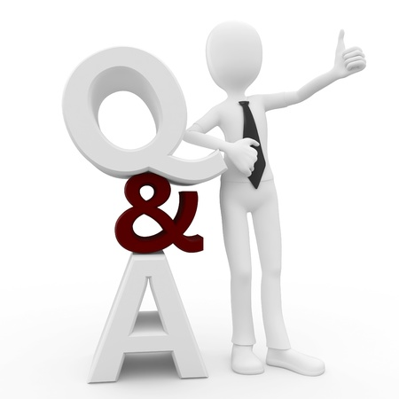 whose: 3d man with question and answer sign isolated on white