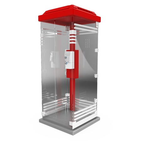 3d red glass phone booth isolated on white photo