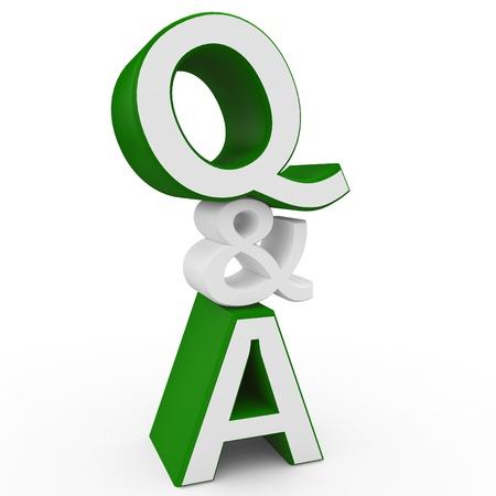 whose: signo de pregunta y respuesta 3D aislado en blanco Foto de archivo