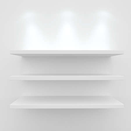 3d Empty shelves for exhibit isolated on white Stock Photo - 8942441
