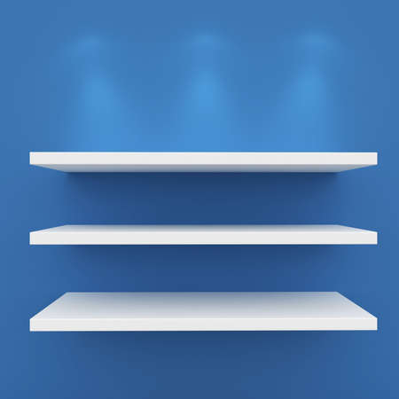 3d Empty shelves for exhibit isolated on white photo