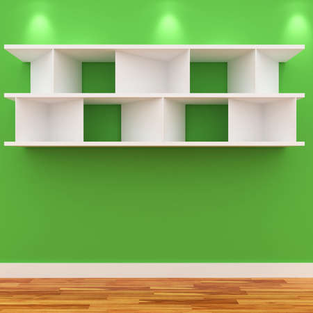 3d Empty shelves for exhibit isolated on white Stock Photo - 8942447