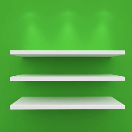 3d Empty shelves for exhibit isolated on white Stock Photo - 8942460