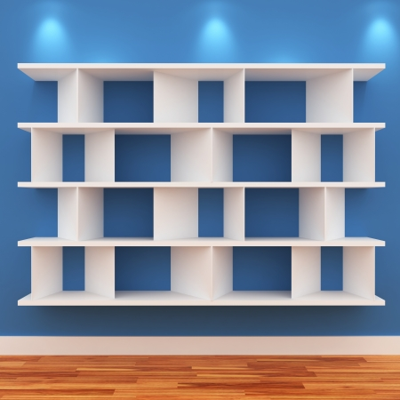expansive: 3d Empty shelves for exhibit isolated on white Stock Photo