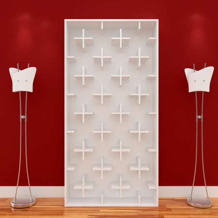 3d Empty shelves for exhibit isolated on white Stock Photo - 8942462