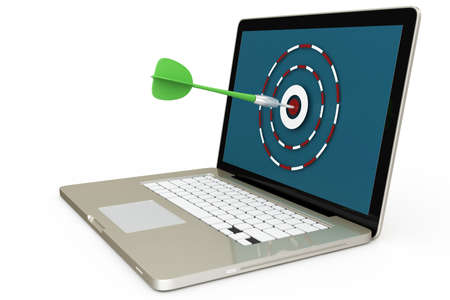3d laptop with dart and target isolated on white photo