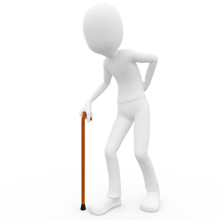 toons: 3d man old with walking stick isolated on white