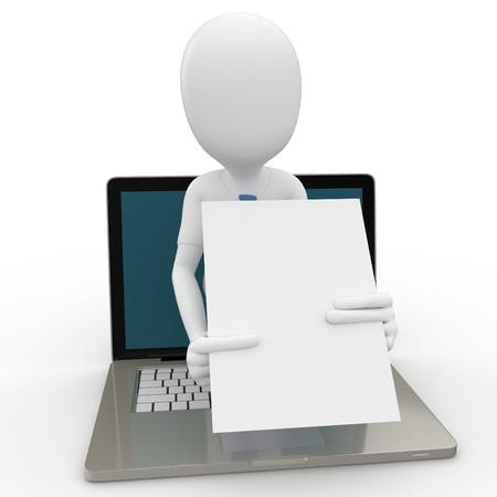 business man laptop: negocios de hombre 3D sobre el concepto de internet aislado en blanco Foto de archivo