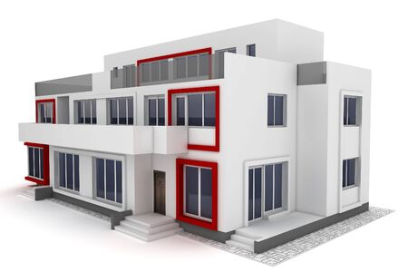 apartment house: 3d house isolated on white rendered generic