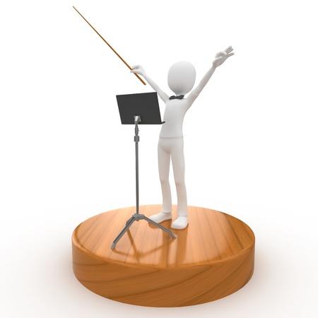 3D líder de director de orquesta de hombre aislado en blanco Foto de archivo - 8983354