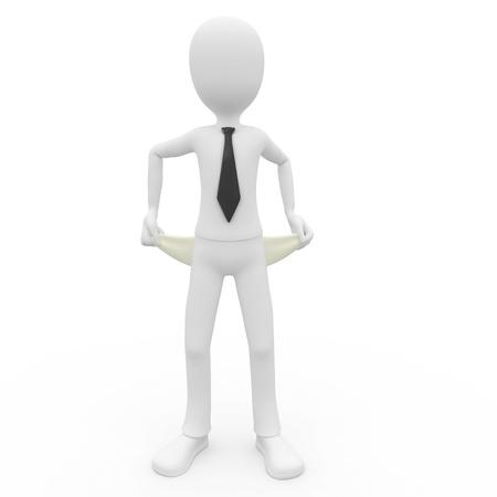 3D uomo rotto imprenditore isolato on white