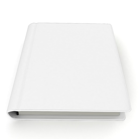 front page: 3d  white book with blank cover isolated on white Stock Photo