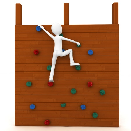 climbing wall: 3d man escalating a climbing wall isolated on white Stock Photo