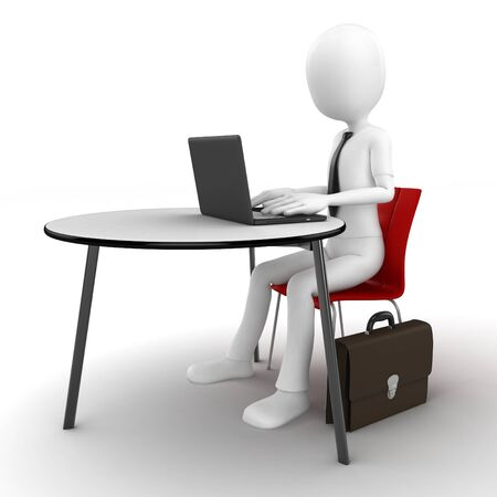 3d man sitting at the table and working on a laptop isolated on white photo