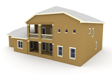 3d house isolated on white rendered generic photo