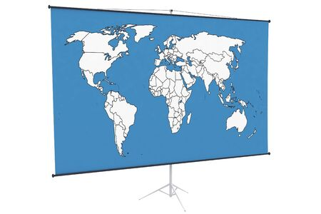3d world map on a stand isolated on white photo