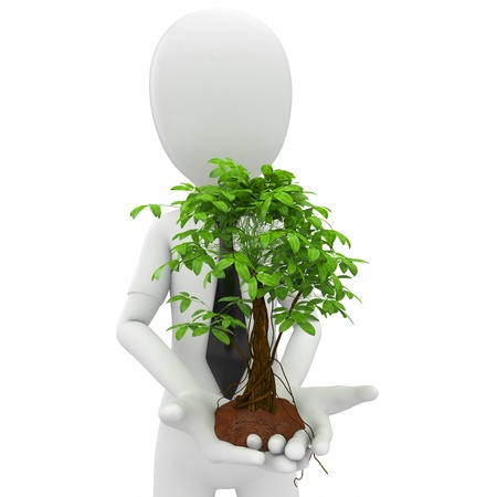 small flower: 3d man with a growing tree isolated on white Stock Photo