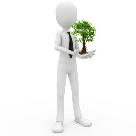 3d man with a growing tree isolated on white photo