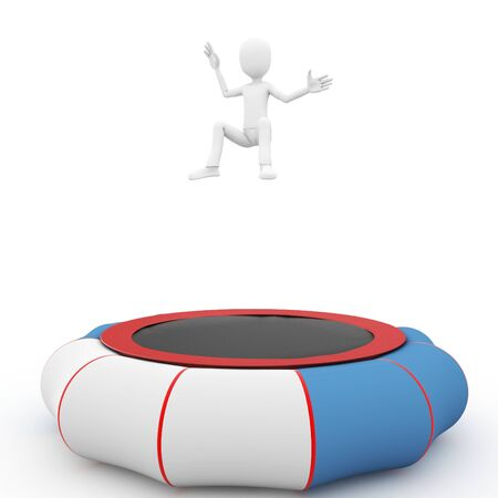 trampoline: 3d man jumping on  blue trampoline