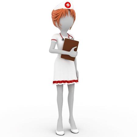 nurse uniform: m�dico de chica 3D con el Bloc de notas aislado en blanco