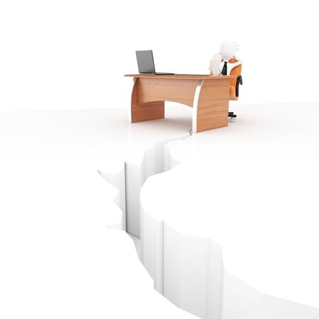 earthquake crack: 3d man at desk with earthquake crack isolated on white Stock Photo