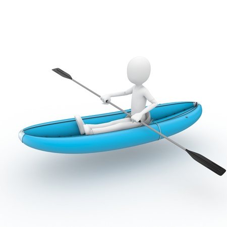 3d man rafting with  kayak isolated on white Stock Photo - 9254833