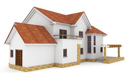 3d house on white isoliert gerendert generic Standard-Bild