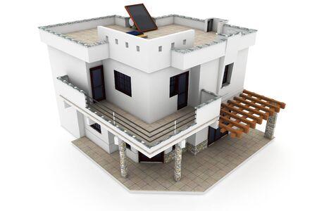 3D Haus isoliert auf weiß gerendert generische Standard-Bild