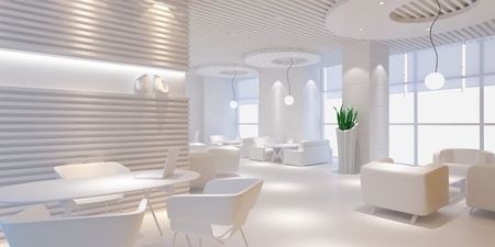 3d interior design blank room with white furniture photo