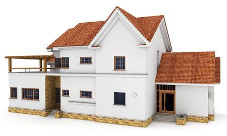 fachadas de casa: 3D Casa aislada en blanco prestados gen�rico Foto de archivo