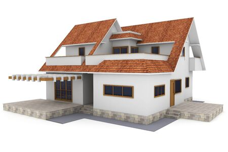 3d house isolated on white rendered generic Stock Photo - 9335081