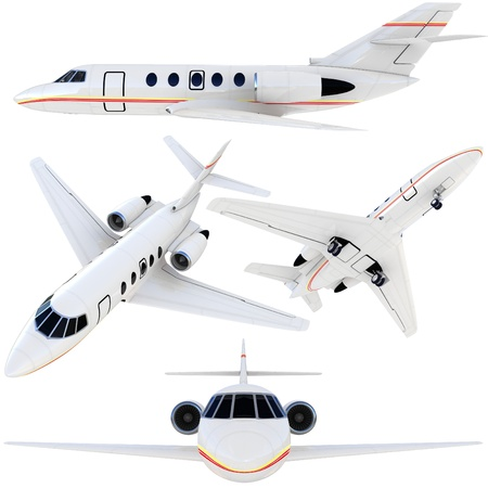 3d plane collection isolated on white background photo